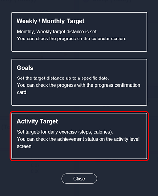 Setting targets for Daily activity